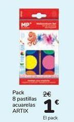 Oferta de Pack 8 pastillas acuarelas ARTIX  por 1€