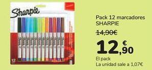 Oferta de Pack 12 marcadores SHARPIE  por 12,9€