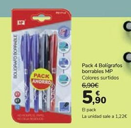 Oferta de Pack 4 bolígrafos borrables MP  por 5,9€