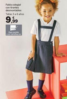 Oferta de Falda colegial con tirantes desmontables por 9,99€