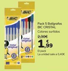 Oferta de Pack 5 Bolígrafos BIC CRISTAL  por 1,99€