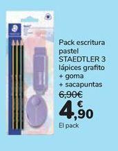 Oferta de Pack escritura pastel STAEDTLER 3 Lápices grafito + goma + sacapuntas  por 4,9€