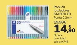 Oferta de Pack 20 Rotuladores Staedtler por 14,9€