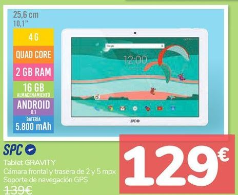Oferta de Tablet GRAVITY SPC  por 129€