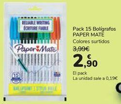 Oferta de Pack 15 Bolígrafos PAPER MATE  por 2,9€