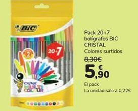 Oferta de Pack 20+7 bolígrafo BIC CRISTAL  por 5,9€
