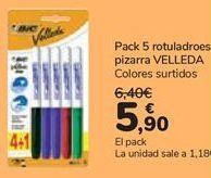 Oferta de Pack 5 rotuladores pizarra VELLEDA  por 5,9€