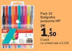 Oferta de Pack 10 bolígrafos purpurina MP  por 1,5€