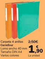 Oferta de Carpeta 4 anillas Carrefour  por 1,9€