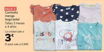 Oferta de Camiseta manga larga bebé por 3€