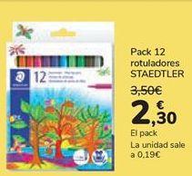 Oferta de Pack 12 rotuladores STAEDTLER  por 2,3€