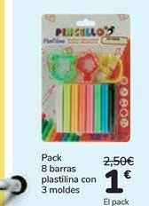 Oferta de Pack 8 barras plastilina con 3 moldes  por 1€