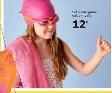 Oferta de Set piscina gorro + gafas + toalla por 12€