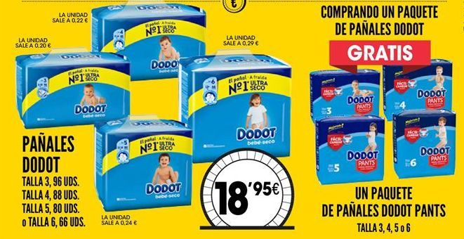 Oferta de Pañales Dodot por 18,95€