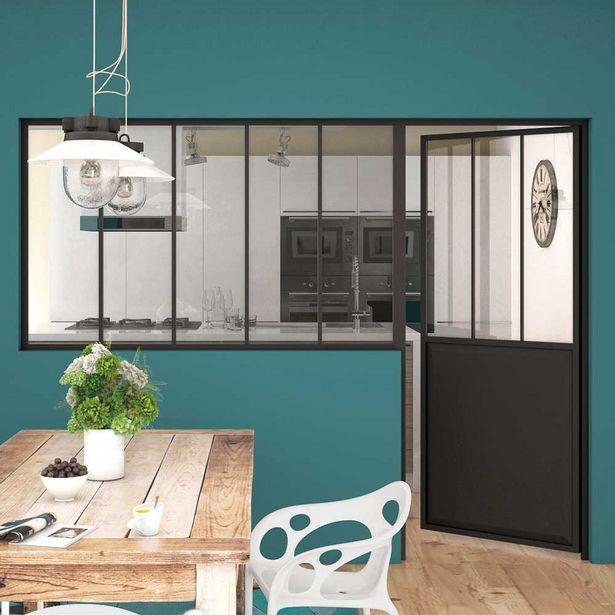 Oferta de Puerta industrial acristalada lacada negra izquierda 204 x 83 cm por 229€