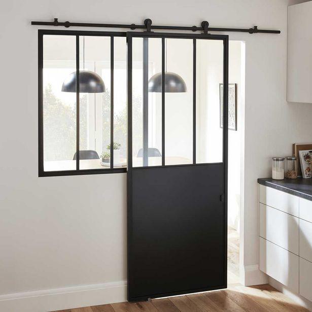 Oferta de Puerta industrial corredera acristalada lacada negra 204 x 83 cm por 155€