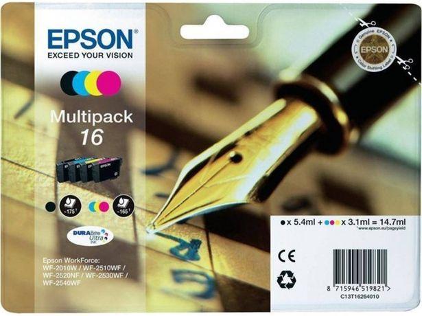 Oferta de Pack ahorro cartuchos de tinta original EPSON 16, Bolígrafo y crucigrama, C13T16264022, T1626 (Caja Abierta) por 29,37€