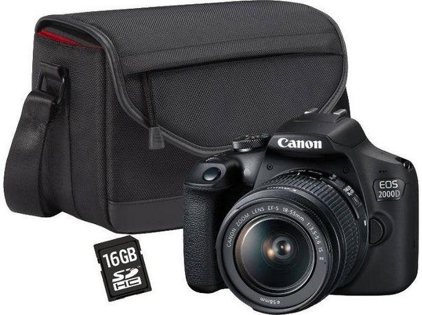 Oferta de Kit Cámara Réflex CANON EOS 2000D + 18-55 mm DC + Bolsa SB130 + 16 GB (24.1 MP - Sensor APS-C - ISO: 100 a 12800) por 370€