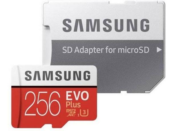 Oferta de Tarjeta de Memória MicroSDXC SAMSUNG Evo Plus (256 GB - 100 MB/s - C10) + Adaptador por 34,99€