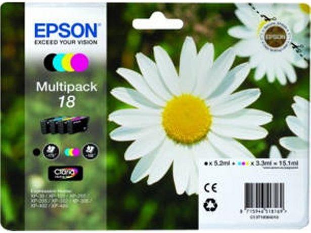 Oferta de Pack ahorro cartuchos de tinta original EPSON,  18, Margarita, C13T18064022, T1806 (Caja Abierta) por 28,67€