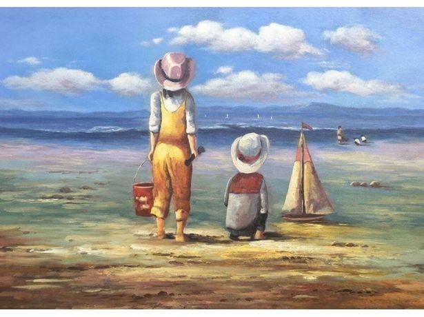 Oferta de Cuadro LEGENDARTE Children playing at the beach (50x70  cm) por 45€
