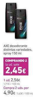 Oferta de Desodorante en spray Axe por 2,56€