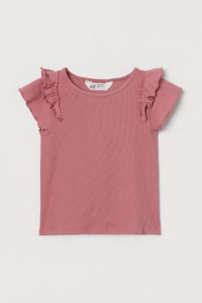 Oferta de Camiseta de canalé con volante por 2,99€