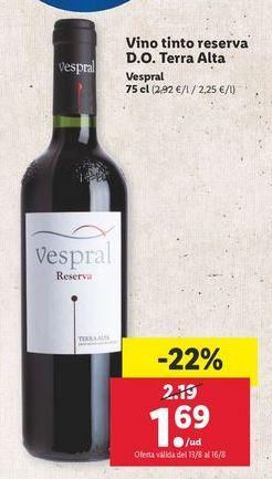 Oferta de Vino tinto Vespral por 1,69€