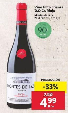 Oferta de Vino tinto Montes de Leza por 4,99€