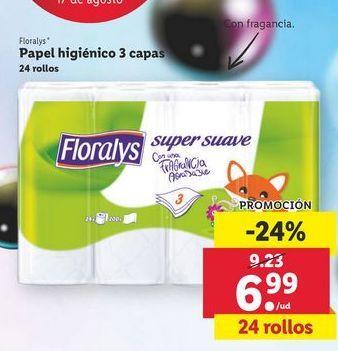 Oferta de Papel higiénico Floralys por 6,99€
