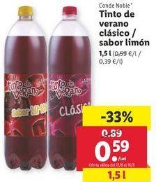 Oferta de Tinto de verano Clásico o sabor limón Conde Noble  por 0,59€