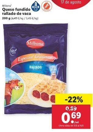 Oferta de Queso fundido rallado de vaca Milbona por 0,69€