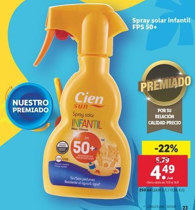 Oferta de Spray solar infantil FPS50+ Cien por 4,49€