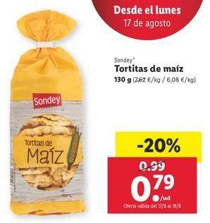 Oferta de Tortitas de maíz sondey por 0,79€