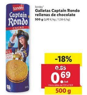 Oferta de Galletas Captinain Rondo rellenas de chocoalte sondey por 0,59€