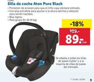 Oferta de Silla de coche Aton Pure Black Cybex por 89€