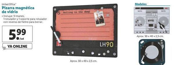 Oferta de Pizarra magnética de vifrio United Office por 5,99€