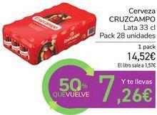 Oferta de Cerveza Cruzcampo por 14,52€