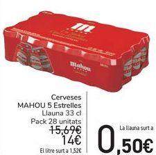 Oferta de Cerveza MAHOU 5 Estrellas  por 14€