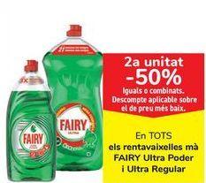 Oferta de En TODOS los lavavajillas mano FAIRY Ultra Poder y Ultra Regular, iguales o combinados  por