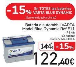 Oferta de En TODAS las baterías VARTA BLUE DYNAMIC por 122,4€