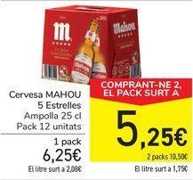 Oferta de Cerveza MAHOU 5 estrellas  por 6,25€