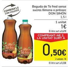 Oferta de Bebida de Té frío sin azúcares limón o melocotón DON SIMÓN  por 1€