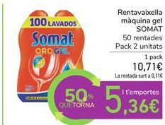 Oferta de Lavavajillas máquina gel SOMAT por 10,71€
