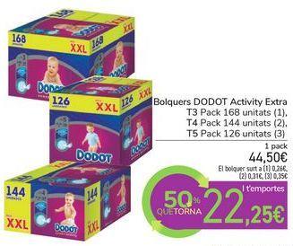 Oferta de Pañales DODOT Activity Extra por 44,5€