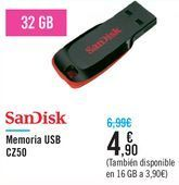 Oferta de Memoria USB CZ50 SanDisk por 4,9€