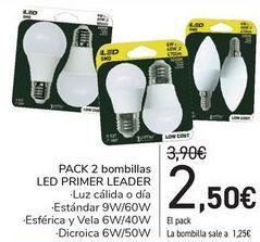 Oferta de PACK 2 Bombillas LED PRIMER LEADER  por 2,5€