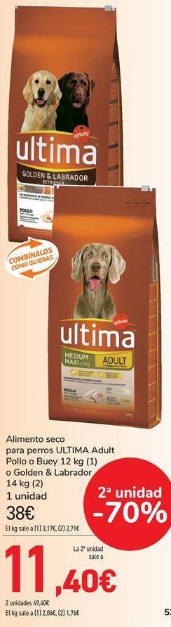 Oferta de Alimento seco para perros ULTIMA Adult Pollo o Buey o Golden & Labrador  por 38€