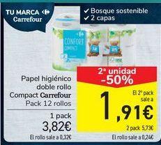 Oferta de Papel higiénico doble rollo Compact Carrefour  por 3,82€