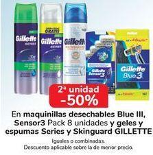 Oferta de En maquinillas desechables Blue III, Sensor3 y geles y espumas Series y Skinguard GILLETTE, iguales o combinados  por